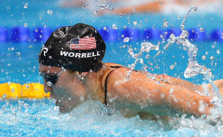 Kelsi Worrell competes in the 100m butterfly at the FINA World Championships in Budapest