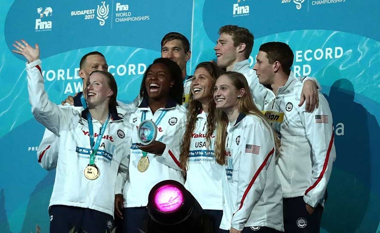 Mixed Relay Wins Gold at Worlds, Ledecky Finishes with Rare Silver