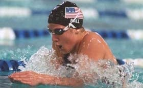 Anita Nall competes for the United States